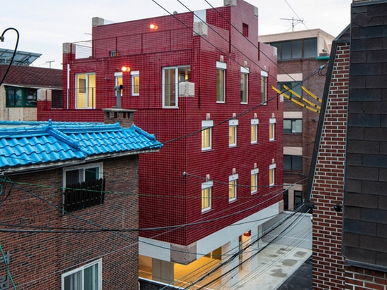 Aoa Architects Uses Red Marble Tiles To Clad This Apartment In South Korean Neighborhood