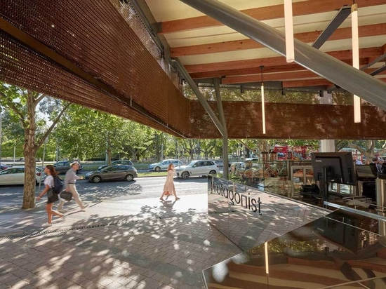 New Arts Centre cafe sheathed in bronze curtain
