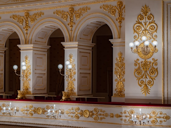 Wall lamps and big classic chandelier handmade lamps Galli Theater Rimini