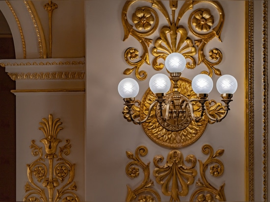 Wall lamps, floor lamps  and big classic chandelier Galli Theater Rimini