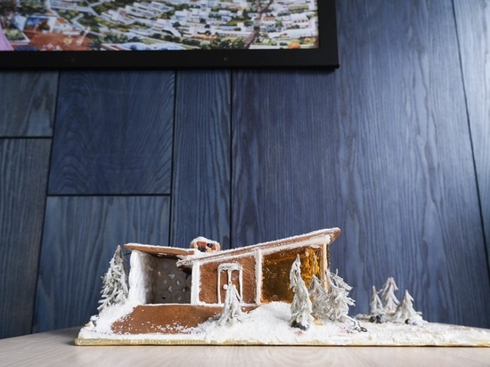 Chef Anthony Strong's gingerbread ski cabin sports a butterfly roof.