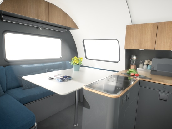 The 3X model expands from 43 square feet to 129 square feet and includes a kitchen, bath, living area, and bedroom.