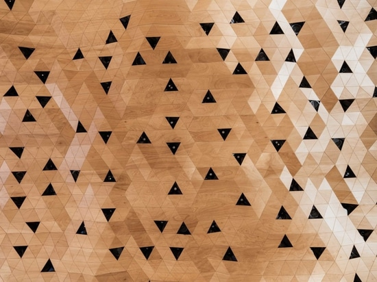 With WOOD-SKIN a multitude of forms can be obtained, depending on the 'tile' shape (in this case, triangles for the ceiling, rectangular strips for the walls), giving each project the possibility o...