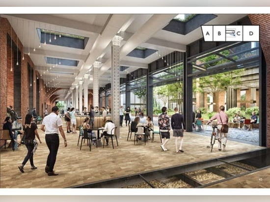 An existing former train tunnel inside the building will be converted into a pedestrian shopping area.