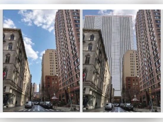 Before and after views showing one of the proposed jail complexes.