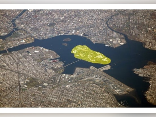Aerial view of the East River in New York City with Rikers Island highlighted.