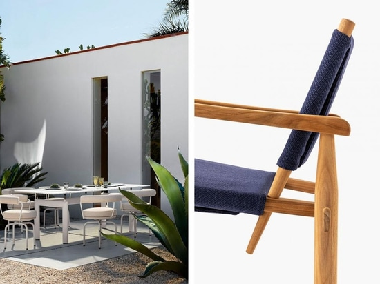 Left, LC Collection Outdoor by Le Corbusier, Pierre Jeanneret and Charlotte Perriand. Right, Doron Hotel armchair
