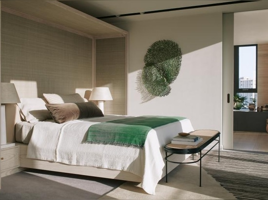 The master bedroom features bespoke designed joinery headboard and platform bed made by Constructive and Co. by Waldo Works, brass handles by Superfront, Frank beside lamps by Collier Webb with cus...
