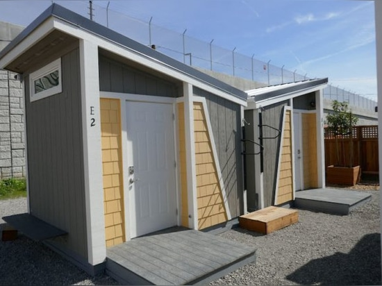 It takes a village: The units at San Jose's first tiny house community for residents transitioning out of homeless were built by Habitat for Humanity volunteers.