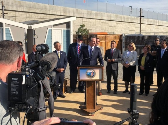 California Governor Gavin Newsom was among several elected officials at the community's grand opening event.