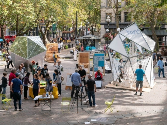 Overview shot of the 2018 Seattle Design Festival Block Party in Occidental Square. Over the course of a weekend, more than ten thousand visitors gathered to experience this two - day street fair c...