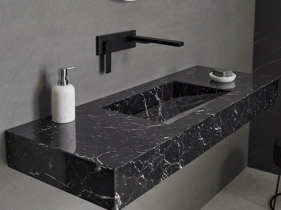 Marquina Marble Tennessee Wall Mounted Washbasin