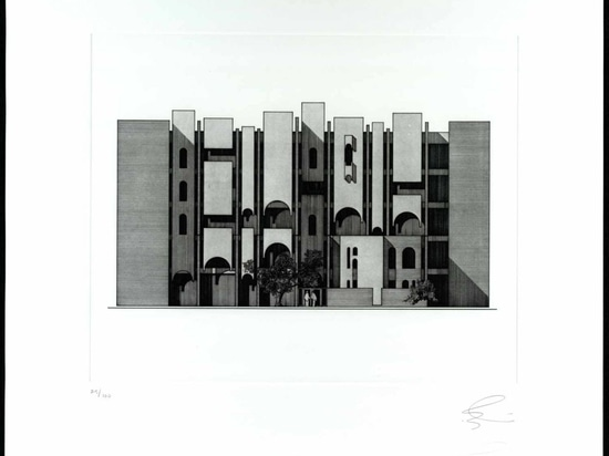 Elevation of Rafidain Bank (1971, Baghdad), from 'The Architecture of Rifat Chadirji: A Collection of Twelve Etchings'.