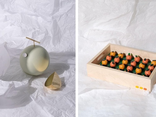 Left, melon in painted oak, brass and aluminium. Right, apricot crate in oak, maple, stirling silver, acrylic and resin