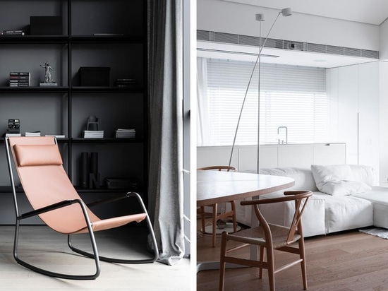 Monochrome and White Attic including the 2017 Flow rocking chair by Shibuleru and Wishbone Chairs by Hans J. Wegner.