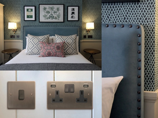 Hotel: Hamilton provides matching Etrium Bronze wiring accessories for Grade II listed boutique hotel