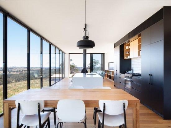 Three prefab modules make up this contemporary rural home