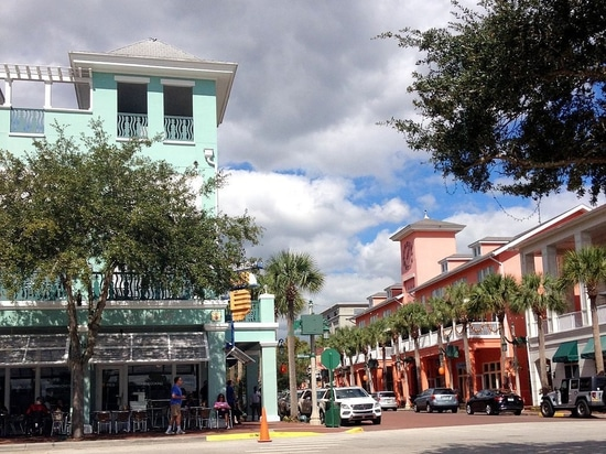Downtown Celebration, Florida, a Disney-adjacent master-planned community in Florida designed by Jaquelin Taylor Robertson and Robert A.M. Stern.