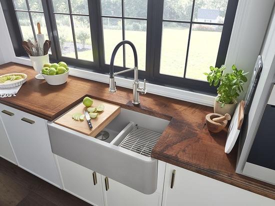 """IKON® 33"""" 1.75 Apron Front Sink with low divide"""