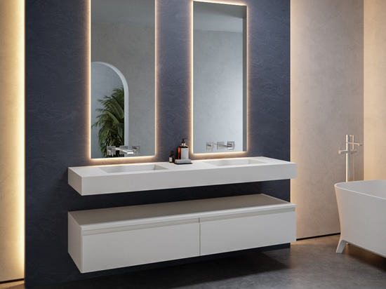 Double Tennessee Corian® Glacier White Wall-mounted Washbasin
