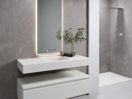 Single Square Corian® Glacier White Wall-mounted Washbasin