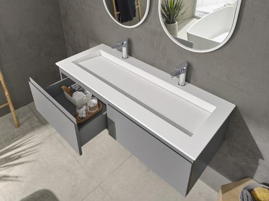 Georgia Corian® Glacier White Wall-mounted Vanity Unit