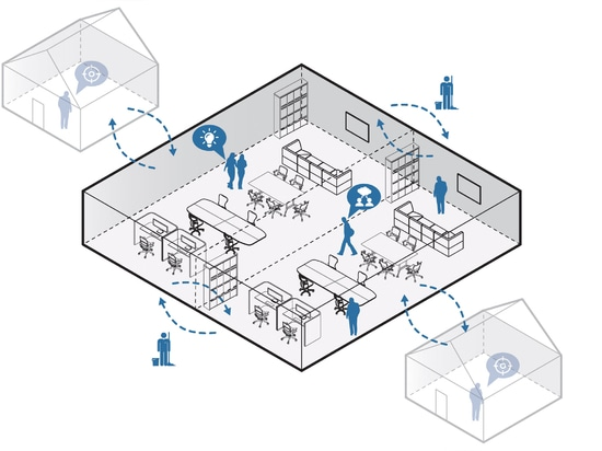 In and Out has more desks and cubicles but still relies on people working remotely