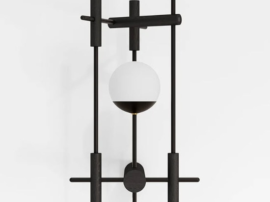 japandi style matte black wall lamp with mouth-blown glass shade
