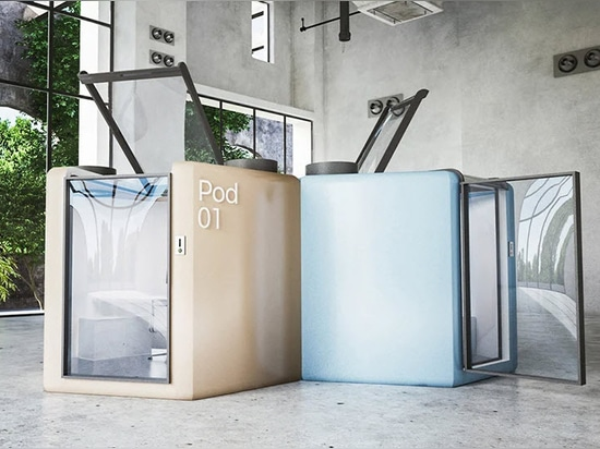 Qworkntine is a health-focused office pod system for post-quarantine workplaces