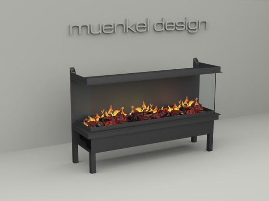 muenkel design wall fire electronic PRO FLR [Opti-myst electric fireplace insert for wall installation]