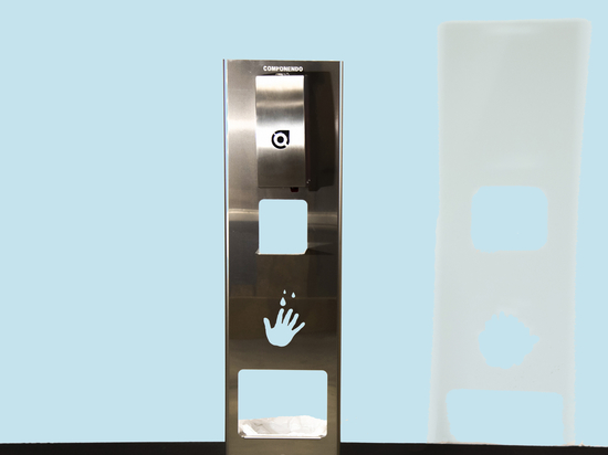 SANITIZING TOTEM WITH AUTOMATIC DISPENSER AND WASTE BIN
