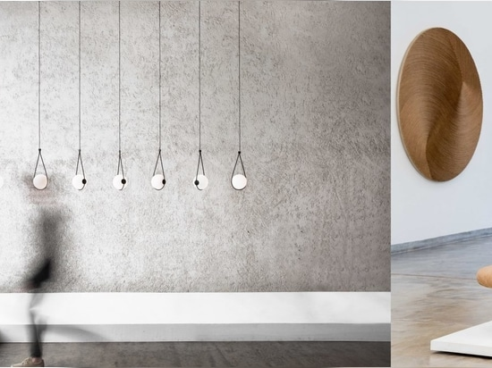 Left: Corda Pendant by Guilherme Wentz; Right: Solo Bench and Frisos Disk by Domingos Tótora.