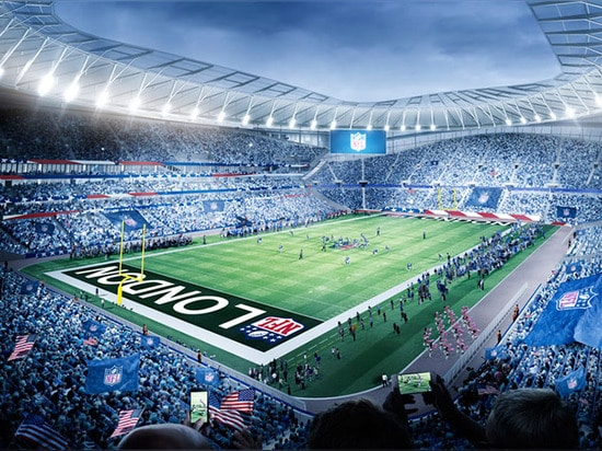The stadium's fully retractable pitch will reveal a second playing surface for NFL games.