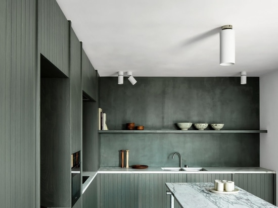 The kitchen in the apartment features seaweed-coloured cabinetry