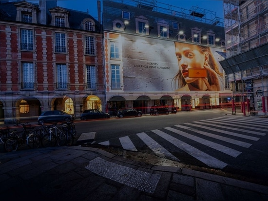 Large format billboard in Place Vosges, Paris. Photo uploaded on July 16, 2020. Courtesy of LightAir.