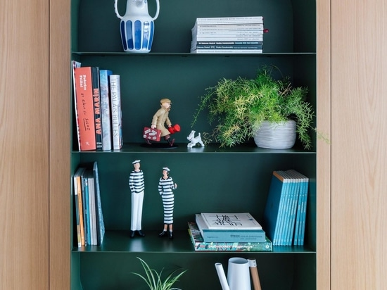 The Shelving In This Apartment Creates A Prominent Display Of Collectibles And Curios