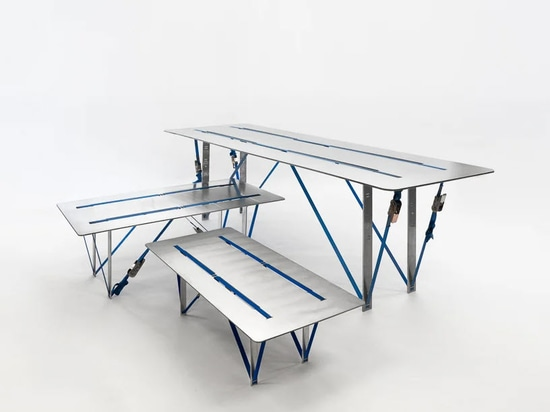Nebbia Works combines recycled aluminium and ratchet straps to create 'tighten table' series