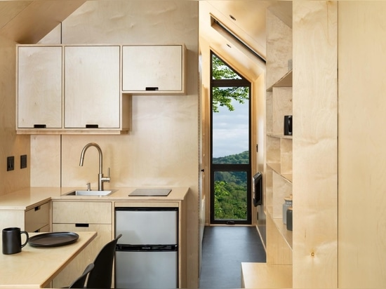 Metal Siding, Solar Panels, And Birch Plywood Have Been Used In The Design Of This Tiny House With A Gabled Roof