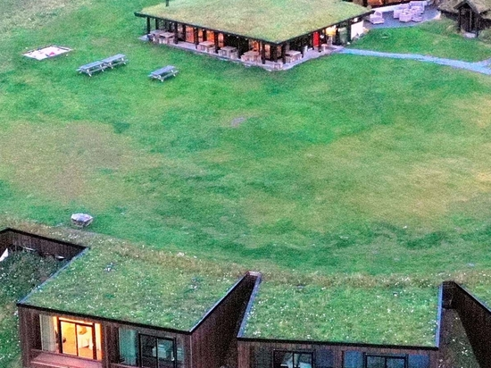 A Large Green Roof Allows The Rooms Of This Hotel To Blend Into The Landscape