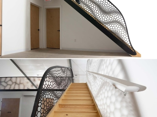 This Artistic Laser-Cut Staircase Handrail Was Inspired By Cell Structures