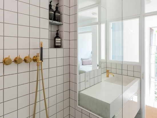 The bathroom was updated with a Japanese-style bath and walk-in shower