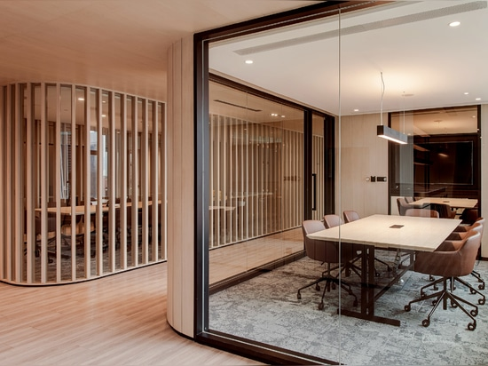 The private meeting spaces feature softer furnishings and carpeted floors