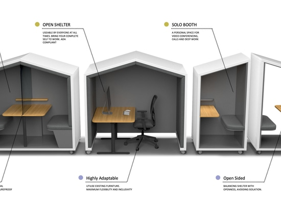 Three different arrangements – Huddle Pod, Open Shelter and Solo Booth – suit different needs
