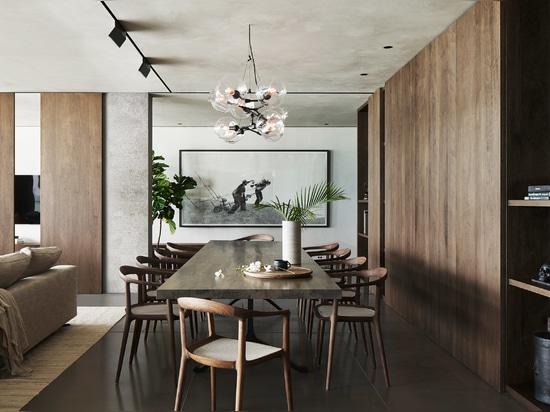 Dark tropical hardwood in the dining area