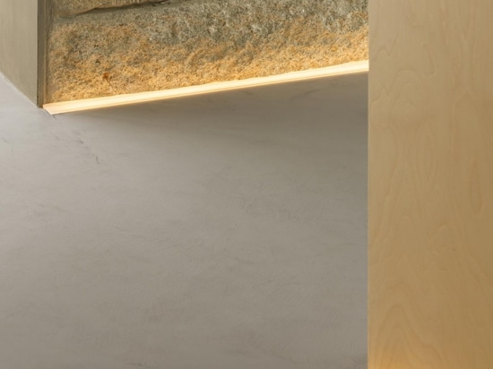Here's a closer look at the lighting strips which are installed where the floor meets the walls.