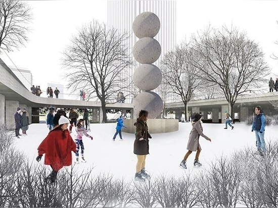 sculpture court and seasonal ice rink northeast of plaza picasso