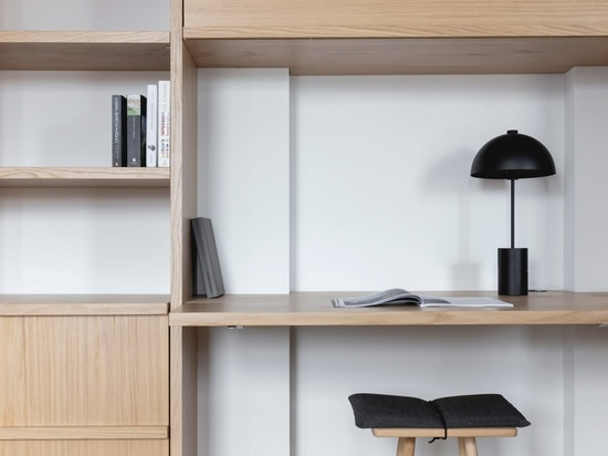 The apartment's built-in storage includes a folding desk