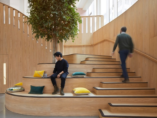 A wooden staircase with bleacher-style seating creates a multi-purpose space