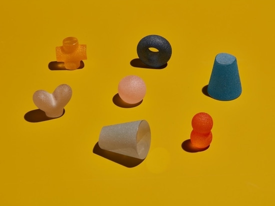 A detail of the playful glass shapes created by Takahashi for his collaboration with Trueing Studio