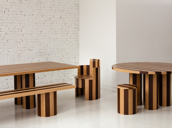 Cooperage rectangular dining table and bench, round dining table and stool, and chair (2019).